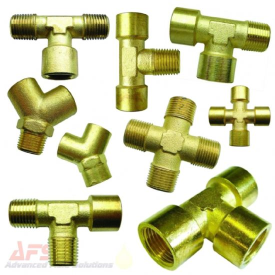 Brass Tee's, Y's & X's Adaptors BSPT/BSP/NPT/METRIC Threads
